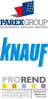 Parex Group, Knauf and Prorend Logos