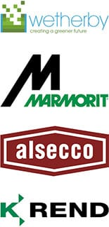 Wetherby, Marmorit, Alsecoo and K-Rend Logos